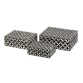 "CC Home Furnishings 3 White Bone Inlay & Black Geometric Cross Pattern Decorative Storage Boxes 8.5"""