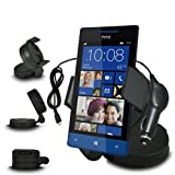 Fone-Case HTC Windows Phone 8S In Car Mini 360 Rotating Windscreen Cradle Mount Mobile Phone Holder With 12V Micro USB In Car Charger