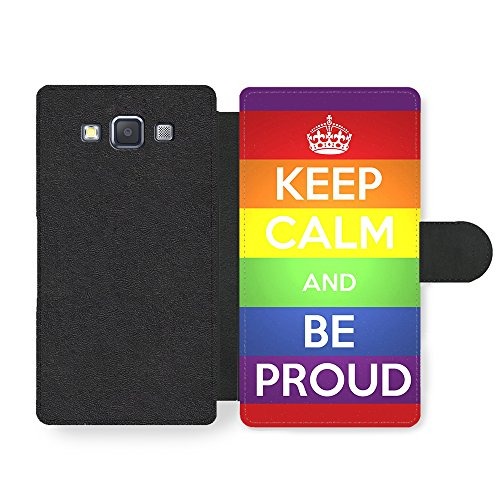 Keep Calm and Be Proud, New Rainbow Gay Pride Design Custodia in Faux Pelle per Samsung Galaxy A3 (2014 edition)