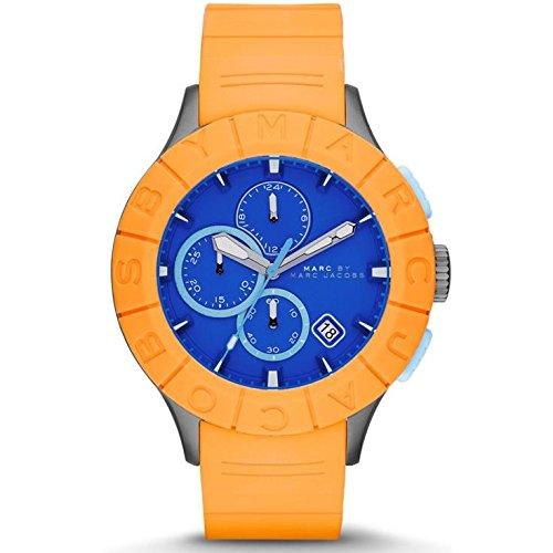 Marc Jacobs Homme 44mm Chronographe Orange Caoutchouc Bracelet Montre MBM5545
