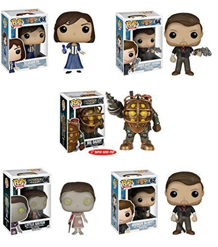 BioShock Big Daddy, Infinite Elizabeth, Booker, Skyhook Booker DeWitt, Little Sister Pop! Vinyl Figures Set of 5