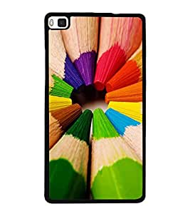 Colourful Pencils 2D Hard Polycarbonate Designer Back Case Cover for Huawei P8
