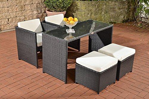 CLP Polyrattan Sitzgruppe TAHITI (2 Stühle + 2 Hocker + Tisch 128 x 56 cm) INKL. bequemen Sitzauflagen, aus bis zu 4 Rattan-Farben wählen schwarz bestellen