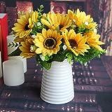 Calcifer® 3 Sets(7 Stems/Set)10.63'' Sunflowers Artificial Flowers Bouquet For Home Decoration/Wedding Decor