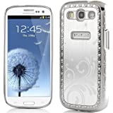 SODIAL(R) Deluxe Sliver Steel Aluminum Chrome Bling Crystal Diamond Rhinestone Hard Case Skin Cover for Samsung i9300 Galaxy S3