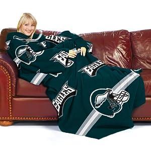 NFL Philadelphia Eagles Comfy Throw Blanket with Sleeves, Stripes Design