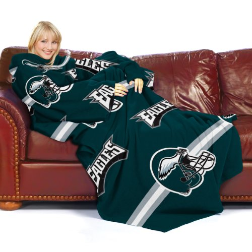 NFL Philadelphia Eagles Comfy Throw Blanket with Sleeves, Stripes Design at Amazon.com