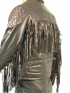Skintan Mens Fringed Diamond Leather Motorcycle Jacket 3XL - 48