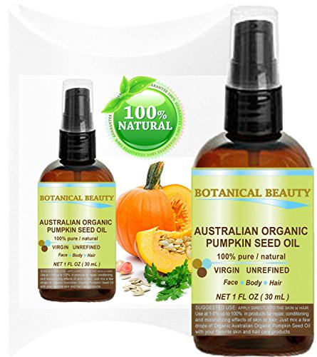 "ORGANIC PUMPKIN SEED OIL Australian. 100% Pure / Natural / Undiluted /Unrefined Cold Pressed Carrier Oil. 1 Fl.oz.- 30 ml. For Skin, Hair, Lip And Nail Care. ""One Of The Richest Sources Of Enzymes, Fatty Acids, Iron, Zinc, Vitamins A, C, E And K"". Botanic"
