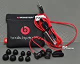 Genuine Monster Beats Audio Headphone w/ mic, playback remotes - original HTC Sensation earphone in Black/Red finish