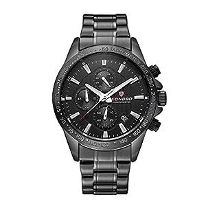 LONGBO Mens Luminous Luxury Stainless Steel Sports Military Analog Quartz Waterproof Real Chrono Eyes Multifunction Wrist Watches