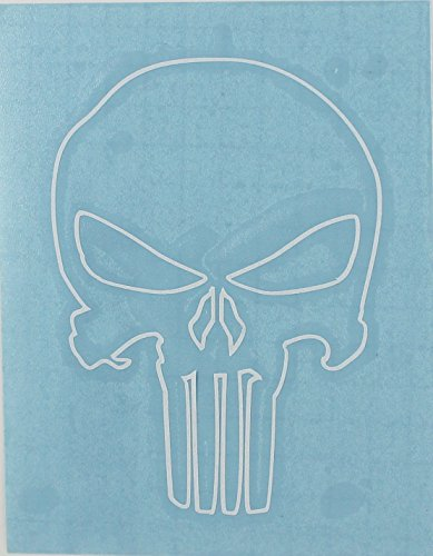 CandD Visionary Punisher Skull Outline 4 Rub-On White