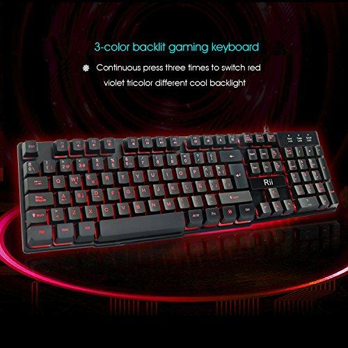 Rii RK100 Teclado para Juegos, Mecánica Feel Gaming Keyboard, USB LED Retroiluminada con Conexión de Cable del Juego Teclado Negro (layout Español)