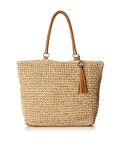 Straw Studios Women's Straw Tote with Tassel, Light Natural/Dark Natural Mix