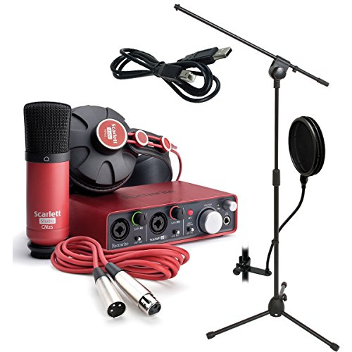 Focusrite Scarlett Studio Recording Package BONUS PAK with Bonus Mic Stand and Pop Filter (Studio Mics Package compare prices)