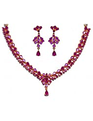 Handmade Alluring Ruby Stone Studded Necklace Set In Silver Alloyed Metal