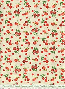 "Yolanda Fundora Urban Amish Bold Little Poppies Quilt Fabric Blank Quilting 6392 Ivory Positively Poppies Quilt Fabric 100% Cotton 45"" Wide - HALF YARD"