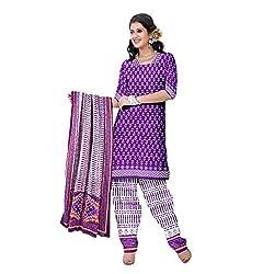Muac New Purple Pure JodhPuri Printed Cotton Semi Stitched Suit ( Dress )