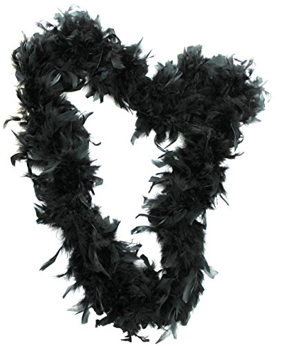 ILOVEFANCYDRESS Feather Boa 65G Thick Hen Night Accessory Fancy Dress Flapper Boas In 10 Colours 1920'S BurleSQue Feathers () 65 Grams Black