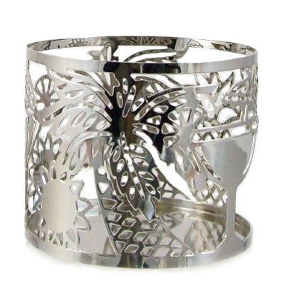 Bath and Body Works Slatkin & Co. Decorative Candle Sleeve Silver Tropical Holiday Holder
