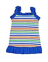 Mint Navy Blue Cotton Girl's Frock