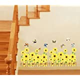 UfingoDecor Beautiful Sunflowers and Fluttering Butterflies Wall Decals, Living Room Bedroom Baseboard Removable Wall Stickers Murals, Yellow