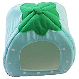 Edtoy Strawberry Shape Nursey Bed House for Animals (L, blue)