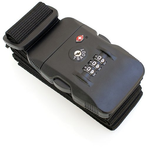 Jobson TSA ロック スーツケース ベルト ダイヤル式 1年間メーカー保証 JOBSON製 クロスセット (ブラック)