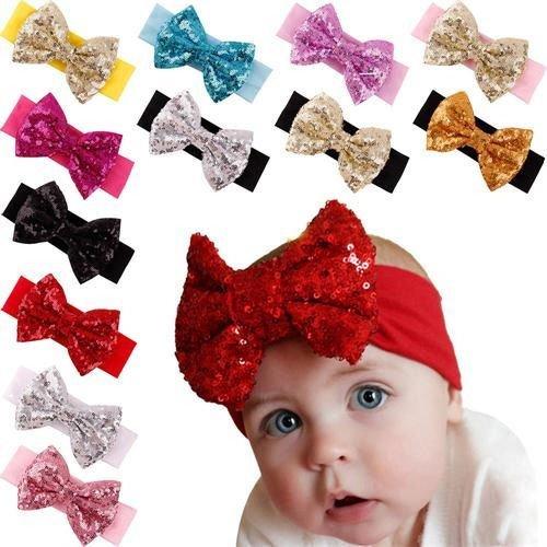 Easybuyeur 12PCS Sequined Bow Head Wrap Hair Band Baby Girl Toddler Striped Turban Headband