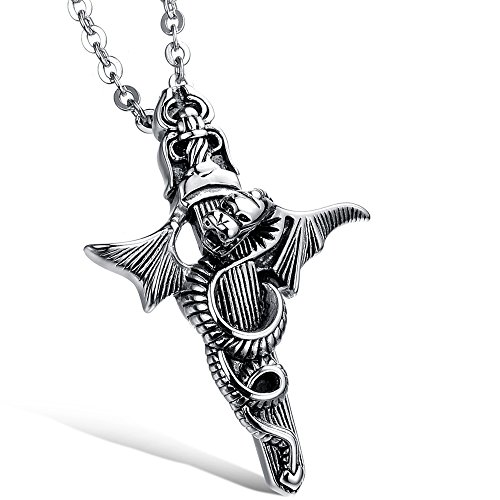 Menso Jewelry Mens Dragon Cross Sword Stainless Steel Pendant Necklace, Black Silver, 20 Inch Chain