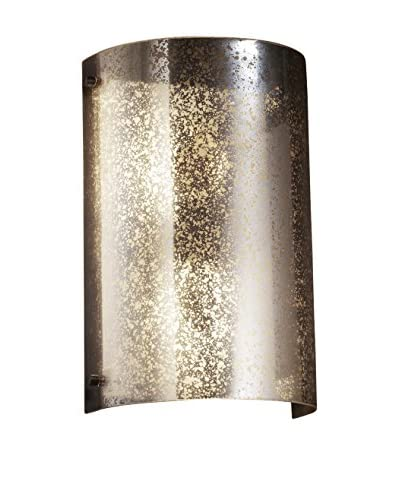 Justice Design Group Fusion Finials Curved Wall Sconce, Dark Bronze/Mercury