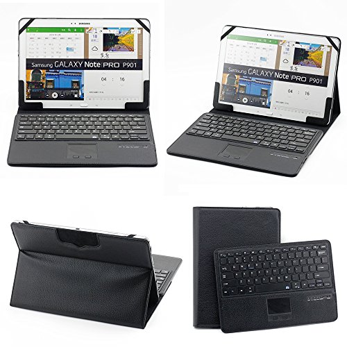 Supernight Universal 11-12 Inch Tablet Portfolio Leather Case W/ Detachable Bluetooth Touchpad Keyboard For Samsung Galaxy Note Pro 12.2 / Samsung Galaxy Tab Pro 12.2 / Microsoft Surface Pro 3 12.2 / Asus Eee Slate Ep121 / Lenovo Ideatab K3 Lynx Etc,For 1
