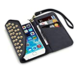 iPhone 6 Case, Terrapin Trendy iPhone 6 Wallet Purse Style Case for iPhone 6 (Black Studded)