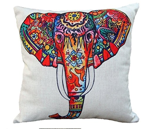 18-x-18-Decorative-Throw-Pillow-Cover-HZ-Home-Style-High-Quality-Cotton-Linen-Square-Throw-Pillow-Case-Home-Sofa-Bed-Car-Cushion-Cover-Painting-Style-Elephant