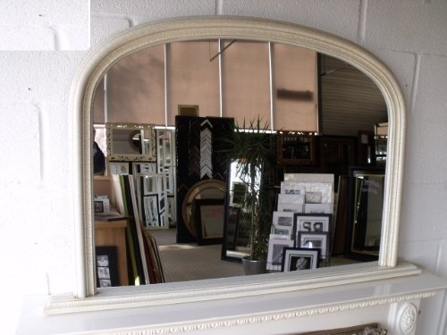 Classic French Inspired IVORY Overmantle Mirror With Elegant ARCHED Frame complete with Premium Quality Pilkington's Glass - Overall Height: 31 inches (78cm) Overall Width: 47 inches (122cm)