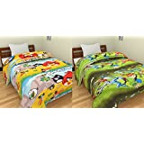 SS Sales Angry Bird And Ban 10 Cartoon Prints Reversible Single Bed AC Blanket \ Dohar Combo Set Of 2 Pc