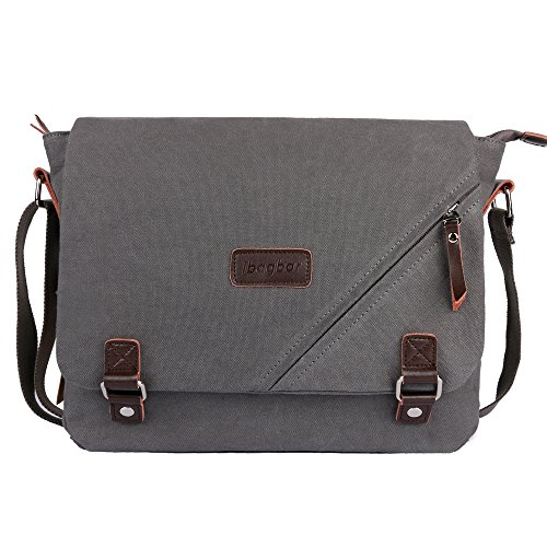 ibagbar Canvas Messenger Bag Shoulder Bag Laptop Bag Computer Bag Satchel Bag Bookbag School Bag Working Bag for Men and Women