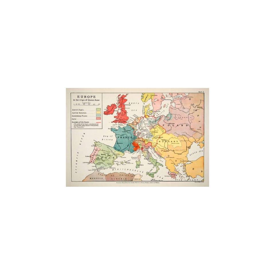 1948 Print Map Europe Queen Anne Empire Dominions Venice Brandenburg