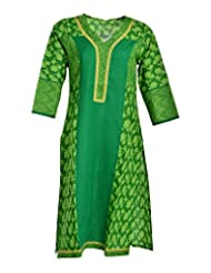 Global Women's Cotton Straight Kurta (GW67GreenXL015, Green, XL)