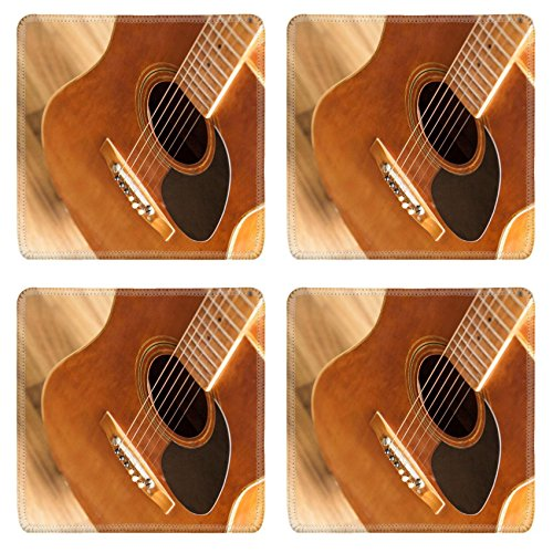 Luxlady Coasters Old classic acoustic guitar isolated on white IMAGE 23042161 Customized Art Desktop Laptop Gaming mouse Pad