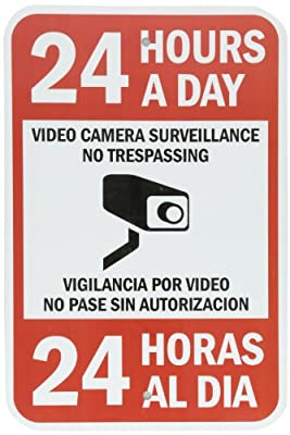 """SmartSign Security Sign, Legend """"24 Hours a Day Video Camera Surveillance"""", Black/Red on White"""