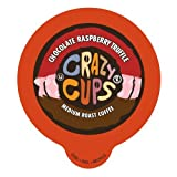 Crazy Cups Chocolate Raspberry Truffle Flavored Coffee, Single Serve cups for the K Cup Keurig brewer, 22 Count