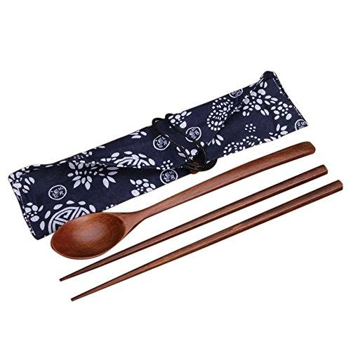 Gosear® 3 Pcs Portable Chinois Des Baguettes en Bois Cuillère avec Chiffon Ensemble-Cadeau Vaisselle