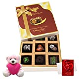 Chocholik Luxury Chocolates - Marvelous Treat Of Dark Chocolate Box With Teddy And Love Card