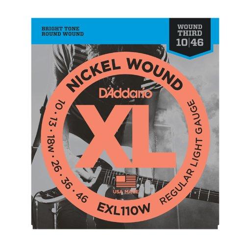 D'Addario Exl110W Nickel Wound Electric Guitar Strings, Regular Light, Wound 3Rd, 10-46