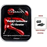 Metrokane Wine Rabbit Corkscrew with Houdini Aerating Pourer Glossy Red Replacement Worm **BONUS** Wine Pourer/stopper