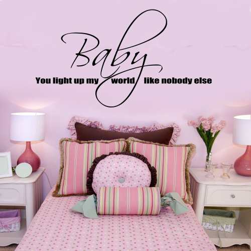 Baby You Light Up My World One Direction Wall Sticker Lyrics Vinyl Decal 1D Art (Black) front-251070