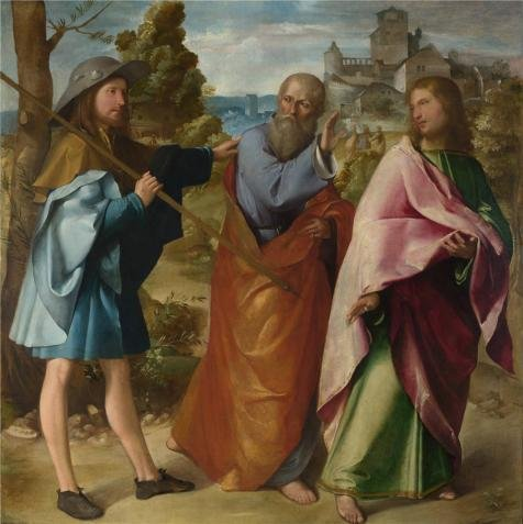 Oil Painting 'Altobello Melone - The Road To Emmaus,about 1516-17' Printing On High Quality Polyster Canvas , 12x12 Inch / 30x31 Cm ,the Best Wall Art Gallery Art And Home Gallery Art And Gifts Is This Vivid Art Decorative Canvas Prints