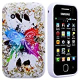 Wayzon Premium Quality Case Cover Skin Pouch Shelll With TPU Protection Gel In An Elegant Sparkling Butterfly Design On White Base For Samsung Galaxy Y S5360 Phone