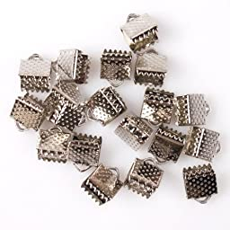 Textured Rhodium Ribbon Bracelet Bookmark Pinch Crimp Clamp End Findings Cord Ends (250) 6mm